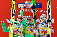 Hopp<br /> FIS World Cup<br /> Foto: Gepa/Digitalsport<br /> NORWAY ONLY<br /> <br /> PLANICA,SLOVENIA,20.MAR.16 - NORDIC SKIING, SKI JUMPING, SKI FLYING - FIS World Cup Final, men, award ceremony for the overall World Cup. Image shows Severin Freund (GER), Peter Prevc (SLO) and Kenneth Gangnes (NOR).