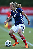 Claire Emslie (#18) of Scotland on the ball during the FIFA Women's World Cup UEFA Qualifier match between Scotland Women and Belarus Women at Falkirk Stadium, Falkirk, Scotland on 7 June 2018. Picture by Craig Doyle.