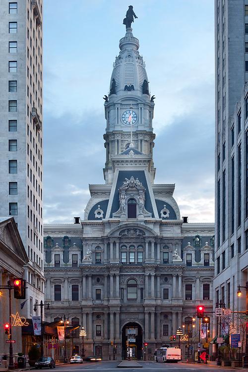Downtown, Philadelphia, Pennsylvania, United States - April 24, 2011: City hall and Broad Street dawn.