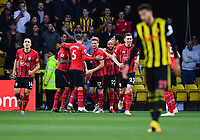 FOOTBALL - 2018 / 2019 Premier League - Watford vs Southampton<br /> <br /> Southampton's Shane Long (hidden) celebrates scoring the opening goal, at Vicarage Road.<br /> <br /> COLORSPORT/ASHLEY WESTERN