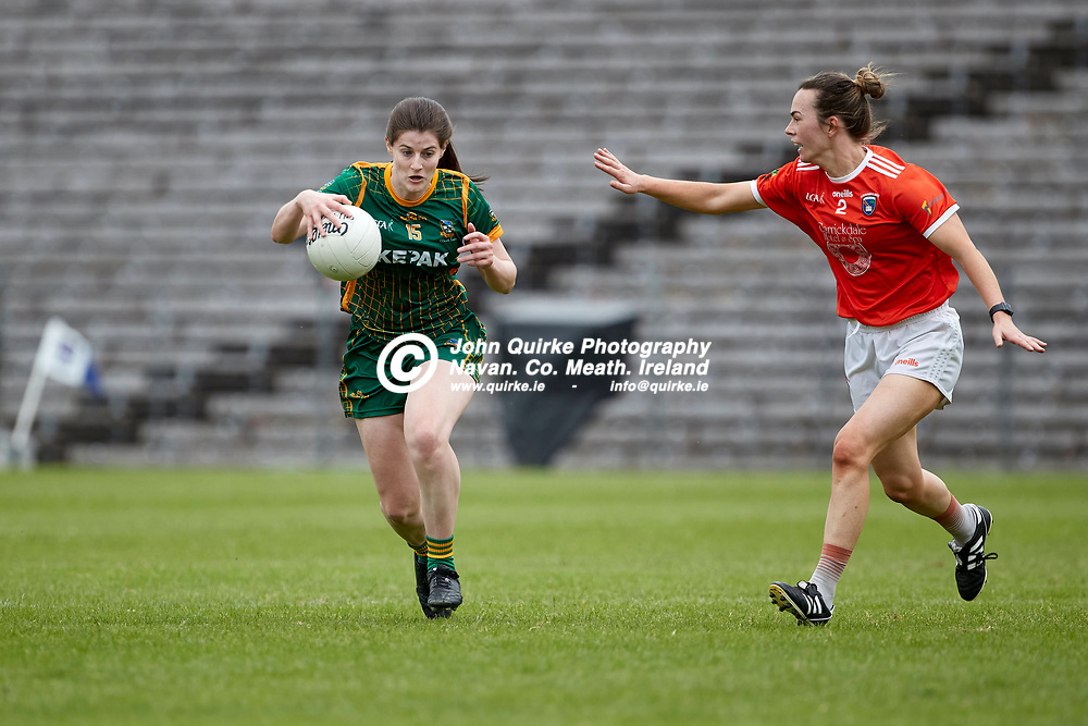 01-08-21, All Ireland Ladies SFC quarterfinal at Clones<br /> Meath v Armagh<br /> Bridgetta Lynch (Meath) and Sarah Marley (Armagh)<br /> Photo: David Mullen / www.quirke.ie ©John Quirke Photography, Proudstown Road Navan. Co. Meath. 046-9079044 / 087-2579454.<br /> ISO: 400; Shutter: 1/1250; Aperture: 4.5;