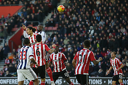 Victor Anichebe of West Bromwich Albion jumps up with Virgil van Dijk of Southampton for the ball - Mandatory by-line: Jason Brown/JMP - 07966386802 - 16/01/2016 - FOOTBALL - Southampton, St Mary's Stadium - Southampton v West Bromwich Albion - Barclays Premier League