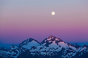 Moonrise over Spider Mountain and Mount Formidable from Hidden Lake Peaks, North Cascades National Park, Washington.