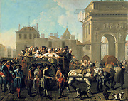 Transporting Prostitutes to the Salpetriere Hospital'.  Etienne Jeaurat (1699-1789) French Baroque artist. Founded by Louis XIV, as hospital and prison. Those in Correction (bad adolescents) and Common (prostitutes) sections deported to Louisiana.