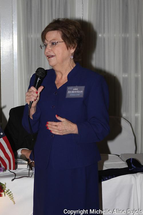 Judge Ann Murry Keller speaking at the Crimefighters banquet.