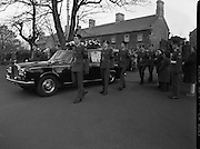 Body of Private Stephen Griffin killed in Lebanon is returned to his home soil..1980-04-19.19th April 1980.19-04-1980.04-19-80..Photographed At Arbor Hill:..Guard of honour from the Ist Field Engineers Company, Cork, colleagues of the late Private Stephen Griffin, acompany the funeral hearse at Arbor Hill, Dublin.