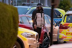 © Licensed to London News Pictures. 19/03/2019. London, UK. Armed stand-off comes to an end as the suspect gets out of his car and is detained by police after 10 hours. Police earlier surrounded a red car where a man was thought to be holding a gun near Lower Addiscombe Road in south London. Photo credit: Peter Macdiarmid/LNP
