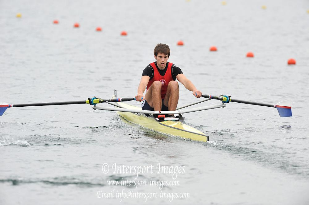 Eton, United Kingdom  GBR M1X. Graeme THOMAS, at the start of his heat of the men's  single sculls at the 2012 GB Rowing Senior Trials, Dorney Lake. Nr Windsor, Berks.  Saturday  10/03/2012  [Mandatory Credit; Peter Spurrier/Intersport-images]