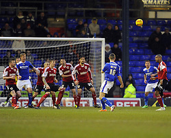 Oldham Athletic's James Wilson fires over late on - Photo mandatory by-line: Joe Meredith/JMP - Tel: Mobile: 07966 386802 08/02/2014 - SPORT - FOOTBALL - Oldham - Boundary Park - Oldham Athletic v Bristol City - Sky Bet League One