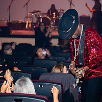 Blues musician Carvin Jones dazzles the crowd at the El Morro Theatre, Saturday, September 28, 2019, during his lively concert.
