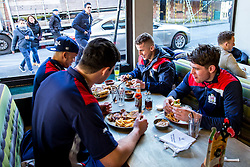 John Hawkins, Billy Searle, James Newey and Elias Caven of Bristol Rugby launch the Bristol Rugby Community Foundation Nando's Cup - Rogan Thomson/JMP - 13/01/2017 - RUGBY UNION - Nando's Park Street - Bristol, England.