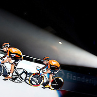 The Netherlands, Rotterdam, 02-01-2015.<br /> Cycling, Six-Days.<br /> The two dutch brothers Michel Kreder ( in front ) and Raymond Kreder of the Roompot pro-continental cycling team in action during the Six-Days Sprint Cup.<br /> Photo: Klaas Jan van der Weij
