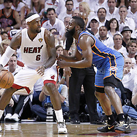 21 June 2012: Miami Heat small forward LeBron James (6) posts up Oklahoma City Thunder guard James Harden (13) during the Miami Heat 121-106 victory over the Oklahoma City Thunder, in Game 5 of the 2012 NBA Finals, at the AmericanAirlinesArena, Miami, Florida, USA. The Miami Heat wins the series 4-1.