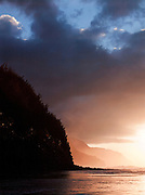 Dusk at Ke'e Beach, Ha'ena State Park, Kaua?i, Hawai?i