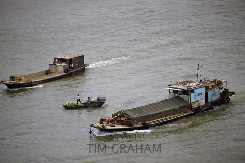 Barges on Pearl River in Canton, China