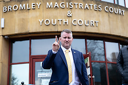 © Licensed to London News Pictures. 07/01/2019. London, UK. Leader of 'Britain First' Paul Golding leaves Bromley Magistrates' Court after being charged with a Breach Of Probation. Photo credit : Tom Nicholson/LNP