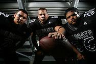 Photo by Alex Jones..Weslaco East Wildcats: #2 Ricky Alaniz, mid linebacker, #61 Donald Moore Jr., left tackle, #66 Frank Ginez III, offensive guard.