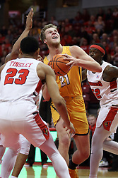 27 January 2018:  Derrik Smits heads into the lane and a triple team in the way of Phil Fayne, William Tinsley, and Milik Yarbrough during a College mens basketball game between the Valparaiso Crusaders and Illinois State Redbirds in Redbird Arena, Normal IL