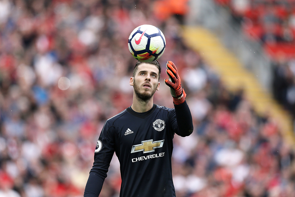 Manchester United's goalkeeper David De Gea<br /> <br /> Photographer Rich Linley/CameraSport<br /> <br /> The Premier League - Liverpool v Manchester United - Saturday 14th October 2017 - Anfield - Liverpool<br /> <br /> World Copyright © 2017 CameraSport. All rights reserved. 43 Linden Ave. Countesthorpe. Leicester. England. LE8 5PG - Tel: +44 (0) 116 277 4147 - admin@camerasport.com - www.camerasport.com