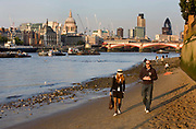 People taking an evening walk on the sandy foreshore of the Thames with the city and Saint Paul's cathedral in the background.