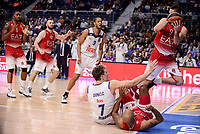 Real Madrid's Anthony Randolph and Luka Doncic and EA7 Emporio Armani Milan's Jamel Mclean, Milan Macvan and Mantas Kalnietisi during Turkish Airlines Euroleage match between Real Madrid and EA7 Emporio Armani Milan at Wizink Center in Madrid, Spain. January 27, 2017. (ALTERPHOTOS/BorjaB.Hojas)