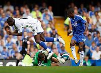 Photo: Richard Lane/Sportsbeat Images. <br />Chelsea v Birmingham. Barclay's Premiership. 12/08/2007. <br />Birmingham's Johan Djourou collides with his keeper, Colin Doyle under pressure from Chelsea's Salomon Kalou.
