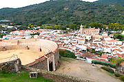 Village and bullring Almonaster La Real, Sierra de Aracena, Huelva province, Spain