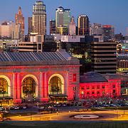 Kansas City MO skyline, late 2020. Union Station in foreground.