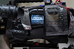 © Licensed to London News Pictures. 12/11/2012. London, UK. The BBC logo on the front of is seen on the side of a television camera in London today (12/11/12). Photo credit: Matt Cetti-Roberts/LNP