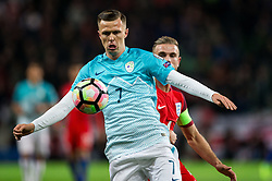 Josip Ilicic of Slovenia vs Jordan Henderson of England during football match between National teams of Slovenia and England in Round #3 of FIFA World Cup Russia 2018 Qualifier Group F, on October 11, 2016 in SRC Stozice, Ljubljana, Slovenia. Photo by Vid Ponikvar / Sportida