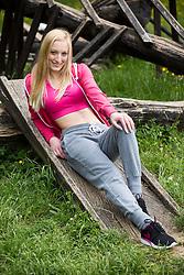 Eva Petric posing during official photo shoot of Miss Sporta Slovenije 2016, on April 23, 2016 in Tivoli, Ljubljana, Slovenia. Photo by Vid Ponikvar / Sportida