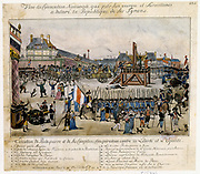 Execution by guillotine of Robespierre (1758-1794) French revolutionary, and his conspirators. Robespierre mounts scaffold. In cart left of scaffold are Hanriot, Robespieree, Dumas and Saint-Just. Behind them are are 14 conspirators in 2 carts. Contemporary hand-coloured lithograph by de Vinck.