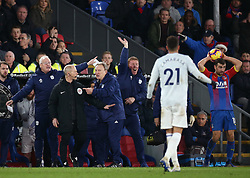 Cardiff City manager Neil Warnock (2nd right) gestures on the touchline during the Premier League match at Selhurst Park, south east London.