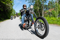 Pirre Morgan riding his 1967 rigid Harley-Davidson Shovelhead long Swedish chopper on a Twin Club ride out from the club house in Norrtälje after their annual Custom Bike Show. Sweden. Sunday, June 2, 2019. Photography ©2019 Michael Lichter.