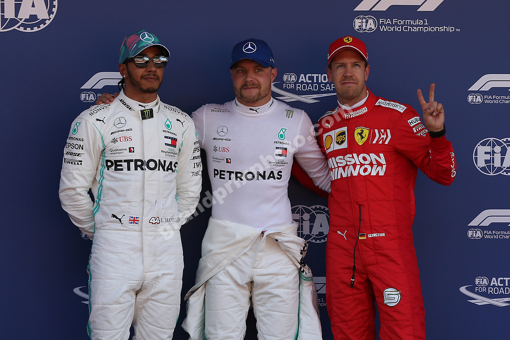 Valtteri Bottas, Lewis Hamilton (bith Mercedes) and Sebastian Vettel (Ferrari) after quaifying for the 2019 Spanish Grand Prix at the Circuit de Barcelona-Catalunya. Photo: Grand Prix Photo