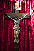 Crucifix of Christ on the cross in St Peters Church in Wapping, London, England, United Kingdom. St Peters, Wapping, is a Grade I listed Anglican church in Wapping Lane. It was built in 1865–1939. The church was the first Anglican mission to the poor of London. Work was begun in 1856 by the Revd Charles Lowder MA and a group of priests, all were members of the Society of the Holy Cross. The Society had been founded a year earlier with the express purpose of banding priests to a common rule of life and prayer in mission service.