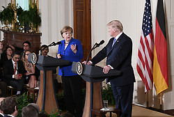 Germany's Chancellor Angela Merkel speaks during a joint press conference with US President Donald Trump in the East Room of the White House on April 27, 2018 in Washington, DC. Photo by Olivier Douliery/Abaca Press