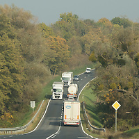 Cars and trucks go on the road in Western Hungary (about 200 kilometres west of capital city Budapest), Hungary on Oct. 19, 2017. ATTILA VOLGYI