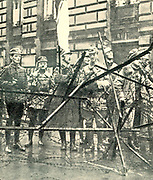 Right wing ex-soldiers at a street barricade during the 1919 Spartacist uprising
