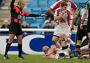 Twickenham, GREAT BRITAIN, Bristols, Matt SALTER, looks to referee David after injuring his shoulder in the tackle, during the Guinness Premieship match, NEC Harlequins vs Bristol Rugby, at the Twickenham Stoop Stadium, England, on Sat 24.02.2007  [Photo, Peter Spurrier/Intersport-images].....