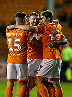 Blackpool's Sean Scannell celebrates scoring the opening goal with teammates<br /> <br /> Photographer Alex Dodd/CameraSport<br /> <br /> The EFL Sky Bet League One - Blackpool v Lincoln City - Friday 27th September 2019 - Bloomfield Road - Blackpool<br /> <br /> World Copyright © 2019 CameraSport. All rights reserved. 43 Linden Ave. Countesthorpe. Leicester. England. LE8 5PG - Tel: +44 (0) 116 277 4147 - admin@camerasport.com - www.camerasport.com