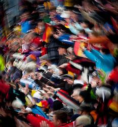 """19.01.2012, Südtirol Arena, Antholz, ITA, E.ON IBU Weltcup, 6. Biathlon, Antholz, Sprint Damen, im Bild tausende Fans strömen jedes jahr nach Antholz zum Biathlon, viele aus Deutschland, Feature, Wischer // Each year thousands of fans come to Antholz watching  biathlon, many from Germany, Feature, wiper during Sprint Women E.ON IBU World Cup 6th, """"South Tyrol Arena"""", Antholz-Anterselva, Italy on 2012/01/19, EXPA Pictures © 2012, PhotoCredit: EXPA/ Juergen Feichter"""