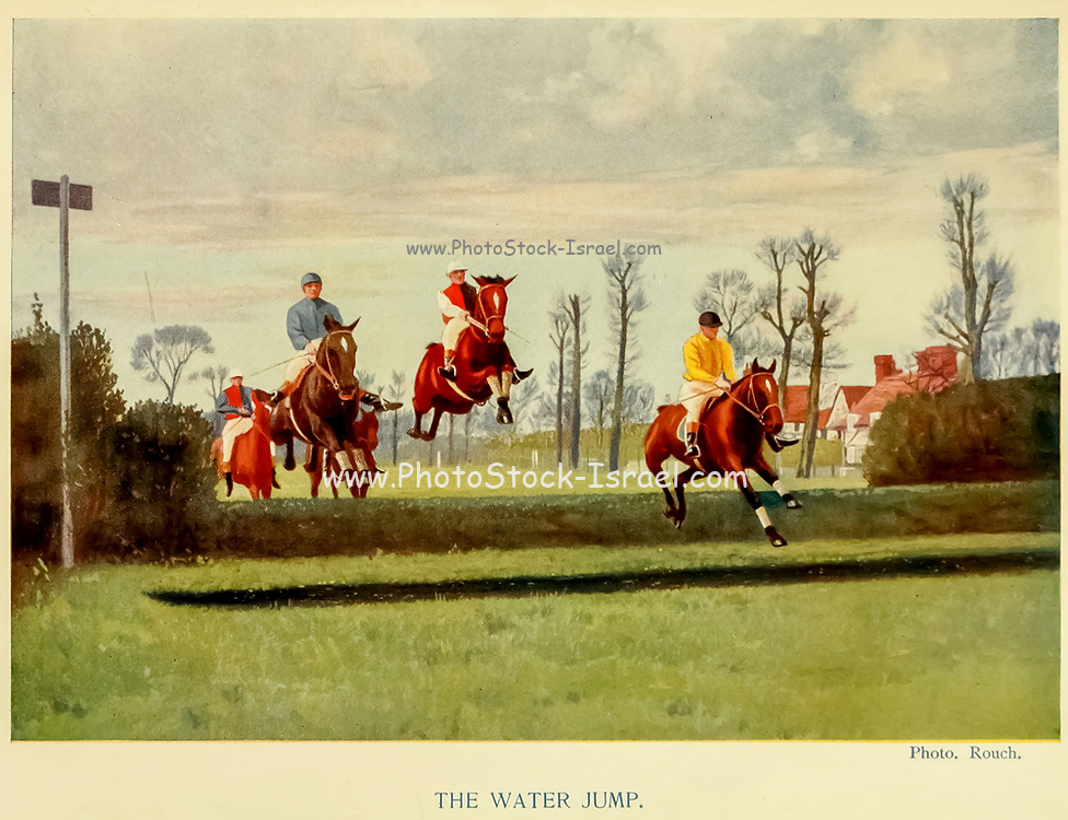 The Water Jump From the book ' English sport ' by Alfred Edward Thomas Watson, Published in London by Macmillan and Co. Limited and in New York by Macmillan Company. in 1903