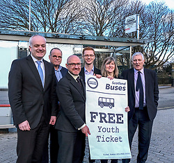 Scottish Greens, Free Bus Travel, 27 February<br /> <br /> Ahead of the budget debate this afternoon, Scottish Greens Parliamentary Co-Leaders Alison Johnstone MSP and Patrick Harvie MSP along with the Green MSP group staged a photocall outside the Scottish Parliament to celebrate their free bus travel for under 19s budget win.<br /> <br /> The Scottish Greens yesterday announced that a deal had been struck on free bus travel, more money for councils, extra resource for community safety and an additional £45 million package to tackle fuel poverty and the climate emergency.<br /> <br /> Pictured:  (left to right) Mark Ruskell MSP, Andy Wightman MSP, Patrick Harvie MSP, Ross Greer MSP, Alison Johnstone MSP and John Finnie MSP<br /> <br /> Alex Todd   Edinburgh Elite media