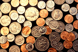 Stock photo of coins of various denominations