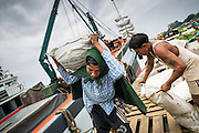 "10 JUNE 2014 - YANGON, MYANMAR:   Stevedores offload 110 pound (50 kilo) sacks of fish meal from a river freighter on the banana jetty. The ""banana jetty"" is on the Yangon River north of central Yangon on Strand Road. Bananas, coconuts and other fruit are brought in here from upcountry, sold and reshipped to other parts of Myanmar (Burma). All of the labor here is done by hand. Porters carry the produce to the jetty and porters load the boats before they steam upriver.   PHOTO BY JACK KURTZ"