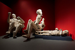 © Licensed to London News Pictures. 26/03/2013. London, UK. The plaster casts of a family of victims of the Pompeii disaster are seen at the press view for a new exhibition at the British Museum in London today (26/03/2013). The exhibition, entitled 'Life and Death: Pompeii and Herculaneum', runs from the 28th of March to the 29th of September 2013 and looks at life in the Bay of Naples before and a the time of the catastrophic eruption of Mount Vesuvius; which buried the Roman towns of Pompeii and Herculaneum over 1600 years ago. Photo credit: Matt Cetti-Roberts/LNP