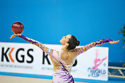 Neta Rivkin during final at ball in Pesaro World Cup at Adriatic Arena on 28 April 2013. Neta was born on June 23, 1991 in Petah Tiqwa Israel. <br /> She is one of Israel's most successful rhythmic gymnasts.