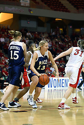 15 March 2007: Lauren Neaves grabs a rebound from the middle of a crowd.  The Owls of Rice university visited the Redbirds of Illinois State University at Redbird Arena in Normal Illinois for a round one WNIT game.