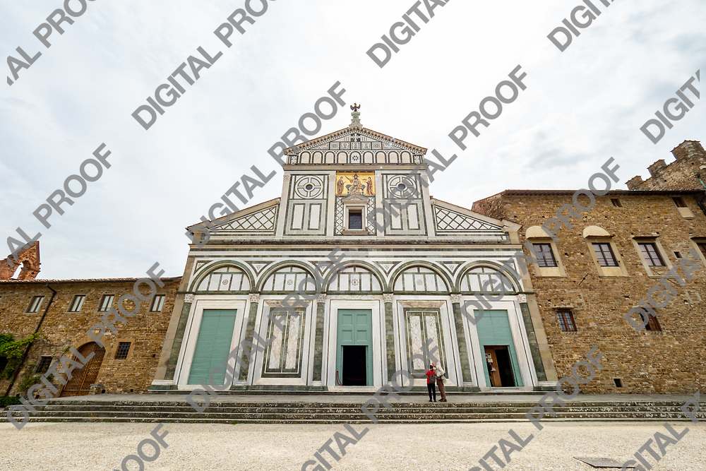 Front of Church San Miniato al Monte located in Florence, Tuscany Region - Italy by day